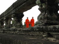 view--monks of angkor wat Phnom Penh, Siem Reap, South East Asia, Cambodia, Asia
