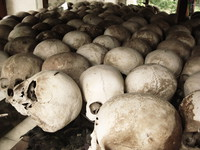 skulls of killing field Phnom Penh, South East Asia, Vietnam, Asia