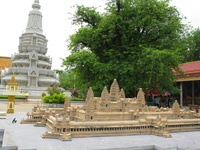 king ang duong stupa behind angkor model Phnom Penh, South East Asia, Vietnam, Asia