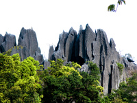 black granite mountain Vientiane, Hin Boun Village, South East Asia, Laos, Asia