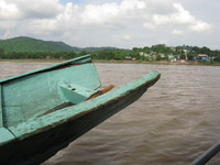 wooden boat to laos border Chiangrai, Chiang Khong, South East Asia, Thailand, Laos, Asia