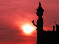 sunset buddha Vientiane, South East Asia, Laos, Asia
