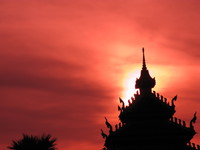 sunset pha that luang Vientiane, South East Asia, Laos, Asia