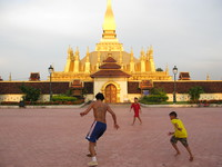 football game at pha that luang Vientiane, South East Asia, Laos, Asia