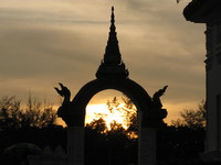 sunset gate Vientiane, South East Asia, Laos, Asia