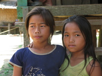 loas village sisters Pakbeng, South East Asia, Laos, Asia