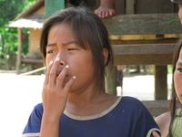 laos girl yawning Pakbeng, South East Asia, Laos, Asia
