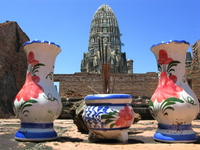 view--vases of wat ratcha burana Ayutthaya, Central Thailand, Thailand, Asia