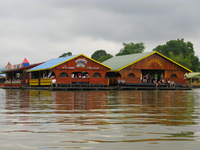 floating party house on river kwai Kanchanaburi, South East Asia, Thailand, Asia
