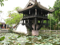 lotus pond of one pillar pagoda Hanoi, South East Asia, Vietnam, Asia