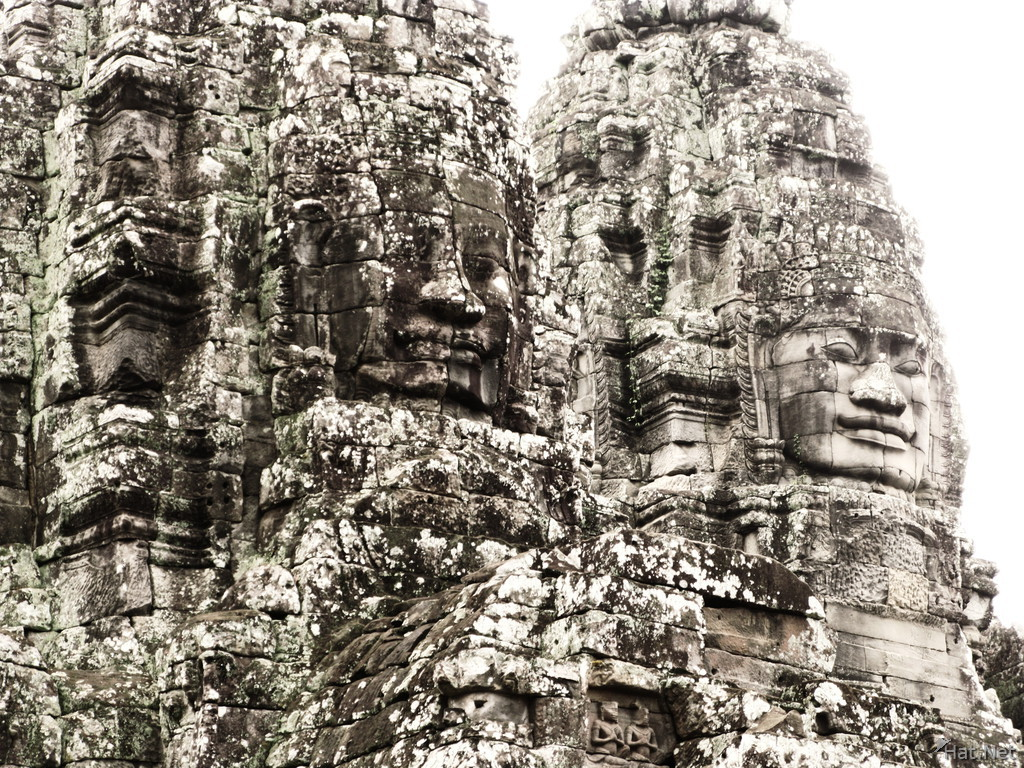 faces of buddha and jayavarman