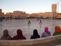 view--muslum girls enjoying evening Ouarzazate, Interior, Morocco, Africa