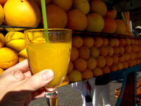 view--orange juice in djemaa el-fna Marrakech, Interior, Morocco, Africa