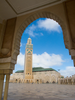 view--arch of grand mosque Casablanca, Marrakesh, Imperial City, Morocco, Africa