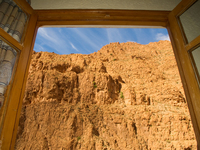 view--windows from hotel vieux chateau du dades Dades Valley, Morocco, Africa