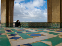 photographer outside grand mosque Casablanca, Marrakesh, Imperial City, Morocco, Africa