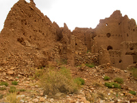 collapsed kasbah Ait Arbi, Dades Valley, Morocco, Africa