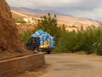 wheat carrying truck Ait Arbi, Dades Valley, Morocco, Africa