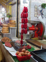 sausage shop in medina Fez, Imperial City, Morocco, Africa