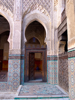muslim praying inside medersa Fez, Imperial City, Morocco, Africa