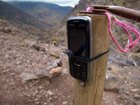 cell phone in toubkal Marrakech, Atlas Mountains, Morocco, Africa