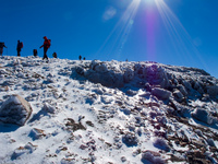 ice trekkers Imlil, Atlas Mountains, Morocco, Africa