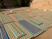 tomb stones on floor Marrakech, Imperial City, Morocco, Africa