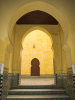 mausolee moulay ismail  yellow brick wall Meknes, Imperial City, Morocco, Africa