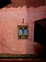 pink muslim windows Meknes, Imperial City, Morocco, Africa