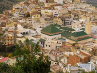 green roof of moulay idriss grand mosque Meknes, Moulay Idriss, Imperial City, Morocco, Africa