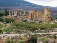 ruin of volubilis Meknes, Moulay Idriss, Imperial City, Morocco, Africa