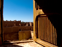 taoutirt kasbah wooden windows Ouarzazate, Interior, Morocco, Africa