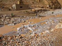 river after the flood La Festival, Todra Gorge, Morocco, Africa