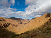 valley blue sky and shadow La Festival, Todra Gorge, Morocco, Africa