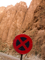 crossing sign in todra gorge La Festival, Todra Gorge, Morocco, Africa
