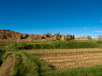 ancient kasbah and farmland Tomboctou, Todra Gorge, Morocco, Africa