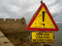 castillo de san sebastian warning sign Cadiz, Andalucia, Spain, Europe