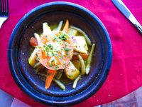 veggie tagine in restaurant 3 thes Ouarzazate, Interior, Morocco, Africa