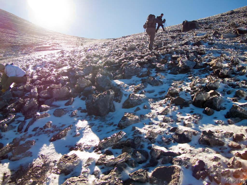 snow hiking in toubkal