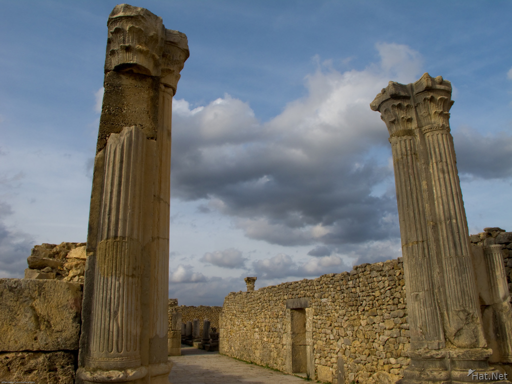 view--volubilis roman columns under cloudy sky