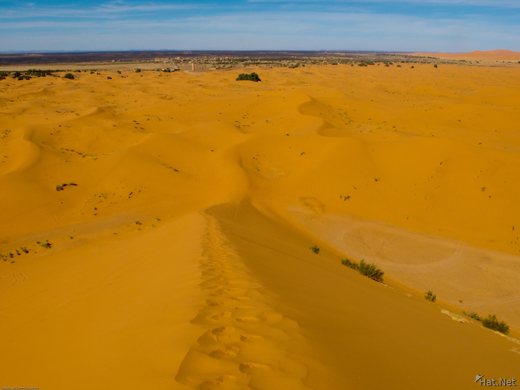 looking back to merzouga village