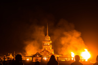 temple is burning Black Rock City,  Nevada,  United States, North America