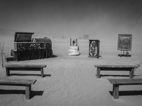 funeral in desert Black Rock City,  Nevada,  United States, North America