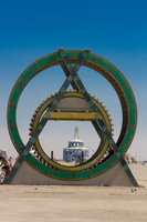 Green Mayan wheel Black Rock City,  Nevada,  United States, North America