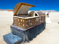 coffin in desert Black Rock City,  Nevada,  United States, North America