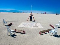 scabble game in desert Black Rock City,  Nevada,  United States, North America